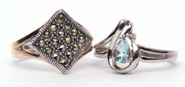 Mixed Lot: two 925 stamped modern dress rings