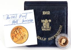 A cased 1982 proof half-sovereign