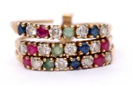 14K stamped stackable ring featuring three bands of small sapphires, rubies and paste stones, size