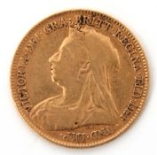 Victorian half-sovereign dated 1897