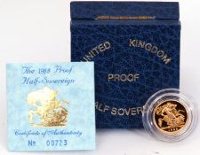 A cased 1988 proof half-sovereign