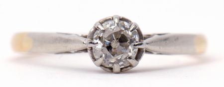 Single stone diamond ring featuring an old cut diamond, 0.25ct approx, in a multi-claw coronet