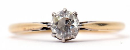 Single stone old cut diamond ring, 0.25ct approx, stamped 18ct, size M