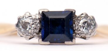 Art Deco sapphire and diamond ring, the square cut sapphire flanked by two small brilliant cut