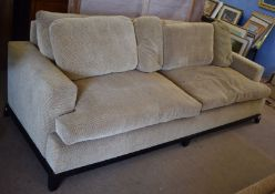 George Smith Ltd large two-seater sofa in beige and brown check upholstery, 258cm wide