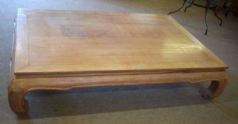 Very large hardwood coffee table, 104cm x 128cm