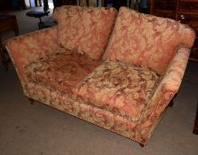 Duresta three-seater settee in red and beige acanthus leaf upholstery