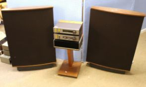 Quad stereo system comprising FM3 tuner, 33 pre-amp, 405/2 power amp and a pair of quad ESL 63