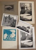 John Brandon Jones, various subjects, group of six woodblocks, all signed in pencil to lower margins