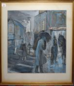 """•AR Ann Vane Wright (20th century), """"Bromley High Street in the rain"""", mixed media on paper, 46 x"""
