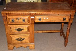 Good quality modern four-drawer kneehole desk, 112cm wide