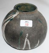 Raku ovoid vase with CH monogram for Christa Maria Herrmann, monogram and date 92 to base, 18cm