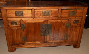 Modern Chinese hardwood sideboard, central double door cupboard, flanked either side by two small