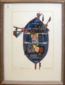 "•AR Nicholas Barnham (contemporary), ""Sheringham Crab Boat"", artist's coloured proof, signed and"