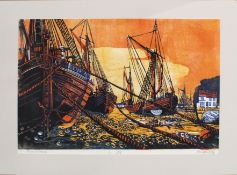 "•AR John Sutton (20th century), ""Barges at Sunrise"", linocut, signed, dated 1972, numbered 1/16"