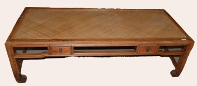 20th century Chinese coffee table with rush work top and two drawers, 170cm wide