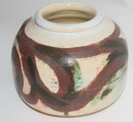 Studio Pottery vase, the white ground with a brown painted decoration with CK monogram to base