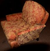 Duresta armchair, red and beige acanthus leaf design upholstery