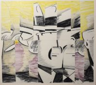 """•AR Dean (20th century), """"Dick Tracy collage"""", mixed media, charcoal and watercolour, signed and"""
