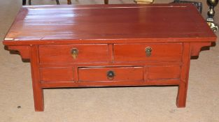 Modern Chinese style hardwood table with three drawers, painted in red, 122cm wide