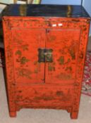 20th century Oriental hardwood cupboard, the front panel with Chinese decoration, 61cm wide
