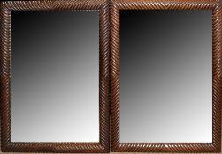 Pair of 20th century hardwood mirrors, 112 x 80cm (2)