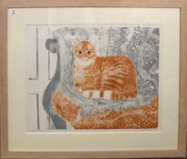 "•AR Sheila Robinson (20th century), ""Red tabby"", artist's coloured proof, signed, dated 1971 and"