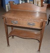 Maple and Co Arts & Crafts oak single drawer side table, the drawer stamped, 98cm wide