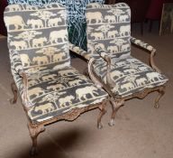 Pair of 20th century open armchairs in designer fabric upholstery depicting lions (2)