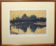 """John Doyle, RWS (born 1928), """"The Taj Mahal from the Juucha"""", two-colour proof, signed and inscribed"""