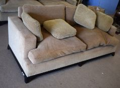 George Smith Ltd large two-seater sofa in beige and brown check upholstery, 198cm wide