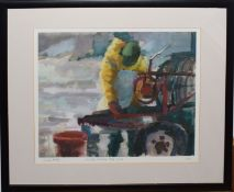 """Janet Hoad (20th century), """"Mussel Woman, Red Glove"""", coloured print, signed, numbered 3/60 and"""