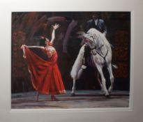 "•AR Fletcher Sibthorpe (born 1967), ""Caballo Blanco"", coloured print, signed and numbered 53/350"