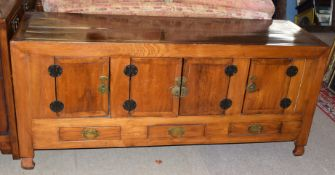 Modern Chinese style hardwood sideboard, four doors over three drawers, 183cm wide