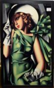 After T de Lempicka (20th century), Lady with hat, coloured print, 56 x 40cm