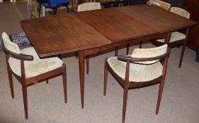 SOS Denmark mid century extending dining table with 4 chairs, 169cm wide fully extended