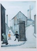 "After Lawrence Steven Lowry, RA (1887-1976), ""Viaduct St Passage"", coloured print, numbered 387/"