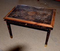 """20th century coffee table with drawer, the top carved with leaves and portrait, inscribed """"Albert"""
