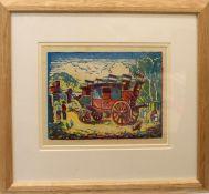 •AR Mabel Allington Royds (1874-1941), GWR Stagecoach, coloured woodcut, 15 x 21cm