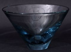 Large glass Holmgaard flared vase with etched signature to base