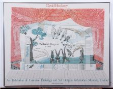 """•AR After David Hockney , colour poster , """"An Exhibition of costume drawings and set designs"""""""