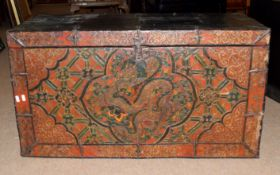 20th century hardwood trunk with Chinese decoration to front panel, 96 x 53cm