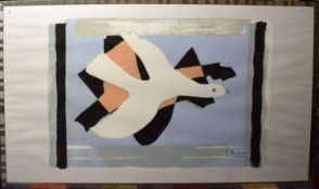 After Georges Braque, Dove, coloured print, 67 x 100cm