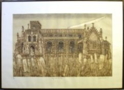 """•AR Valerie Thornton, RE (1931-1991), """"Cley next the Sea"""", coloured etching and aquatint, signed,"""