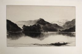 "•AR John Nicolson, RBA, ARE, RSW (1891-1951), ""Evening, Loch Lomond"", black and white dry point"