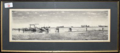 •AR N Ward (20th century), Bridge scene and estuary with cranes, pair of black and white etchings,