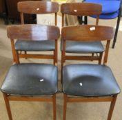 Set of 4 mid century dining chairs by Drevounia, Czechoslovakia (4)
