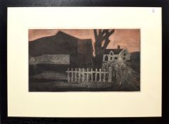 •AR George Chapman (1908-1993), Landscape with fence and cottage, possibly Great Bardfield area