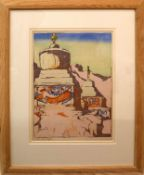 """•AR Mabel Allington Royds (1874-1941), """"Chortens, Ladakh"""", coloured woodcut, signed in pencil to"""