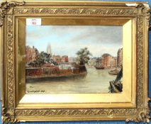 Edward Hackford (19th century), The Quay at Boston, oil on panel, signed and dated 1890 lower